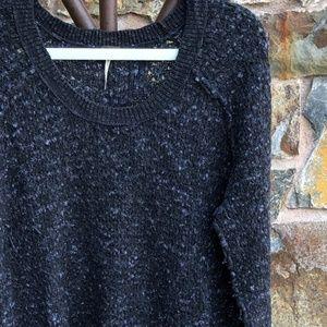 FREE PEOPLE Dark Gray Slub-Knit Wool Blend Sweater